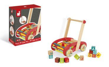 Janod Holzwagen ABC mit 30 Bausteinen Buchstaben Spielzeug Laufwagen 05379 – Bild 1