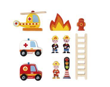 Janod Feuerwehrstation Feuerwache mit 10teiligem Zubehör Holz Spielzeug 05717 – Bild 5