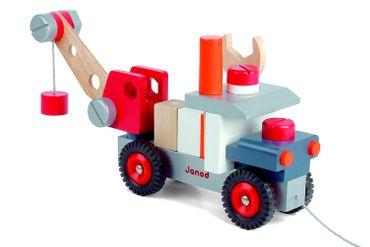 Janod Baukasten Kranwagen 27 Teile Spielzeug Fahrzeug Lernspielzeug Holz 06509 – Bild 1