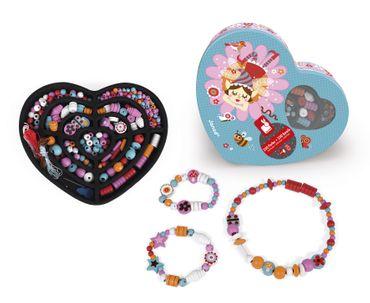 Janod Perlensortiment Minuschka 250 Stück Holz Spielzeug Kinder in Herzbox 06676 – Bild 3