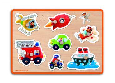 Janod Puzzle Fahrzeuge mit Musik Steckpuzzle aus Holz für Kleinkinder 07052