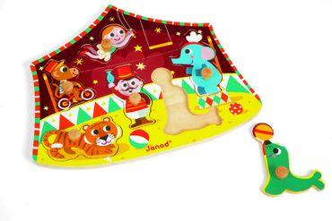 Janod Knopfpuzzle Zirkus Steckpuzzle Holz Spielzeug Kleinkind Motorik 07060 – Bild 1