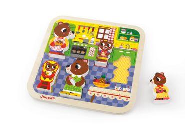 Janod Holzfiguren-Puzzle Küche Spielzeug Motorik Kleinkind Holz 5 Teile 07082 – Bild 5