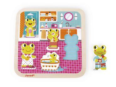 Janod Holzfiguren-Puzzle Badezimmer 5 Teile Spielzeug Motorik Kinder Holz 07083 – Bild 1