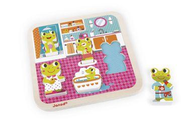 Janod Holzfiguren-Puzzle Badezimmer 5 Teile Spielzeug Motorik Kinder Holz 07083 – Bild 3