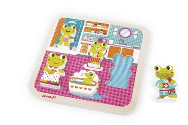 Janod Holzfiguren-Puzzle Badezimmer 5 Teile Spielzeug Motorik Kinder Holz 07083 – Bild 4