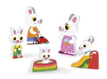 Janod Holzfiguren-Puzzle Garten 5 Teile Spielzeug Motorik Kleinkind Holz 07084 – Bild 5