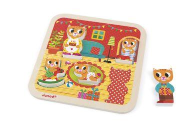 Janod Holzfiguren-Puzzle Wohnzimmer 5 Teile Spielzeug Motorik Kinder Holz 07085 – Bild 4