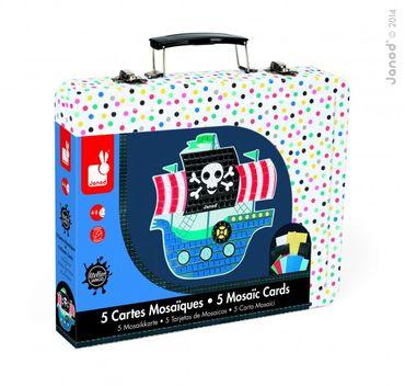 Janod Kreativ-Koffer Mosaik-Karten Piraten Bastelset Kinder gestalten 07761 – Bild 1