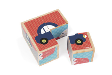 Janod Motivbausteine erste Wörter Holz Spielzeug Kleinkind Würfel Puzzle 08002 – Bild 1