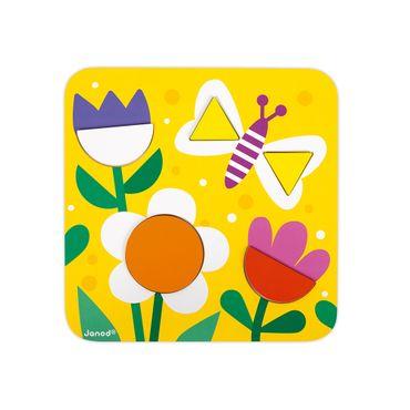 Janod Puzzle-Lernspiel Formen Spielzeug Holz Karton Lernspielzeug 08028 – Bild 7