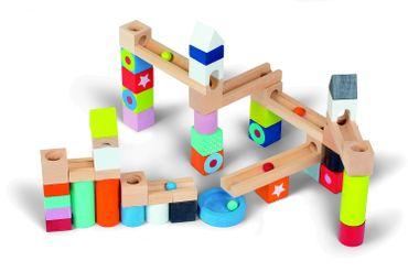 Janod Kubix Bausteine Murmelbahn 50 Stück Holz Spielzeug Bauklötze 08073