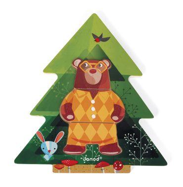 Janod Puzzle Pyjama-Party aus Holz 6 Bären mit jeweils 3 Teilen legen 08198 – Bild 7