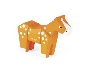 Janod Stecktier Pferd Steckspiel aus Holz für Kleinkinder 4teilig 08225