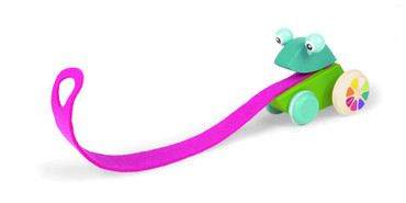 Janod Nachziehtier Frosch mit Zunge Motoriktrainer aus Holz für Kleinkind 08237 – Bild 2