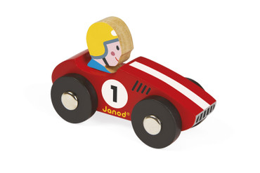 Janod Racer Rennwagen 2er Set rot und gelb aus Holz Rennauto Kleinkinder 08548 – Bild 1