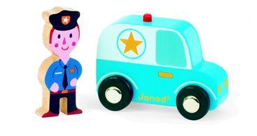 Janod Polizei-Set Figur und Fahrzeug aus Holz für Kleinkinder 08564