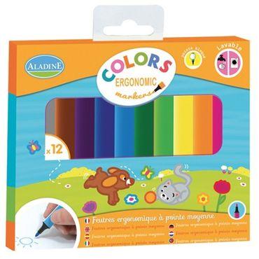 Aladine Colors Ergonomic Marker 12 Stück Filzstifte kreativ Kinder malen 42024 – Bild 1