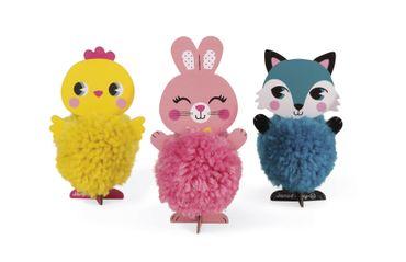 Janod Kreativ-Koffer Tier-Pompons Bastelset Kinder Tiere mit Wolle 07774 – Bild 1