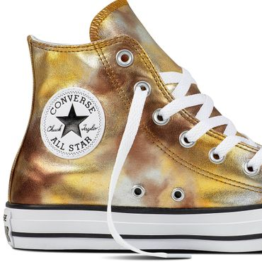Converse All Star Hi Chuck Taylor Chucks silver gold metallic – Bild 2