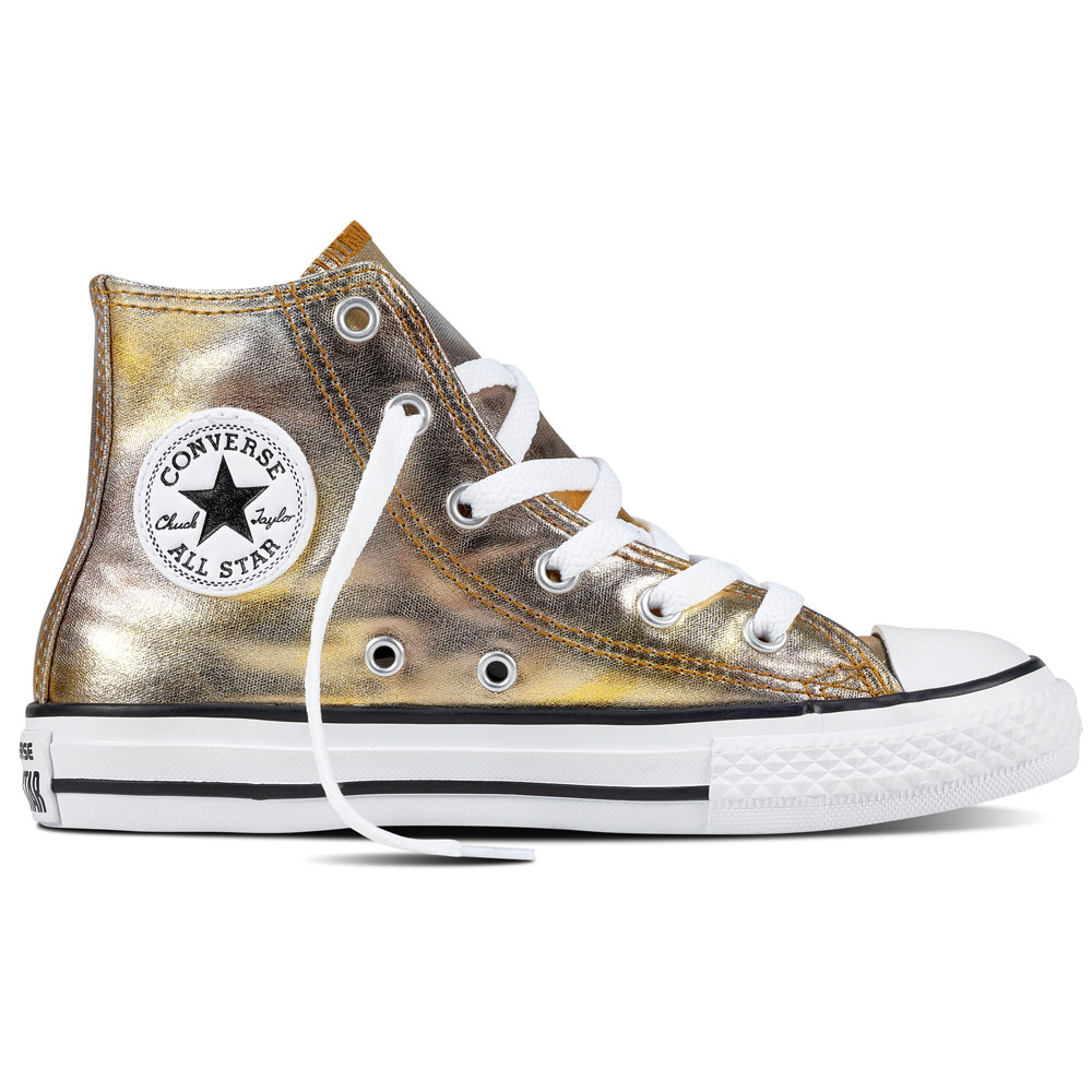 Converse All Star Hi Chuck Taylor Chucks Kinder silver gold metallic