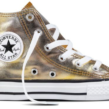 Converse All Star Hi Chuck Taylor Chucks Baby Kinder silver gold metallic – Bild 2