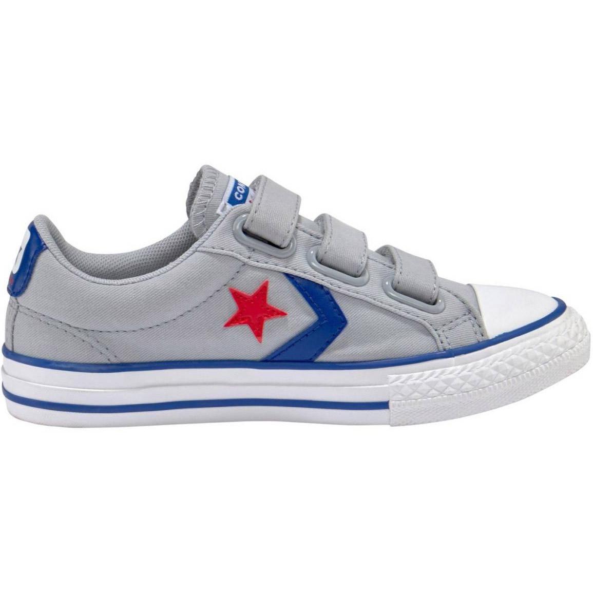 027916d5d2207 Converse Star Player EV 3V OX Kinder Sneaker grau blau 663601C