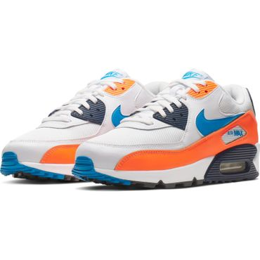Nike Air Max 90 Essential Herren Sneaker weiß blau orange AJ1285 104 – Bild 3