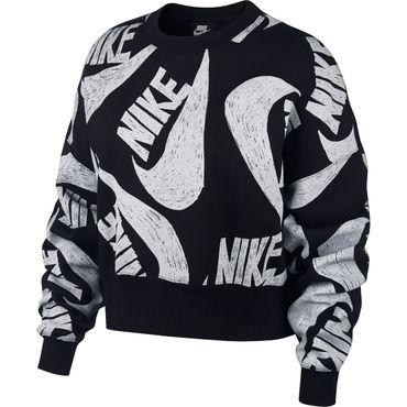 Nike Sportswear Women's Fleece Crew Damen schwarz weiß CJ2052 010 – Bild 1