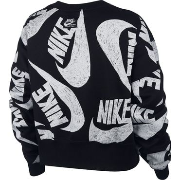 Nike Sportswear Women's Fleece Crew Damen schwarz weiß CJ2052 010 – Bild 2