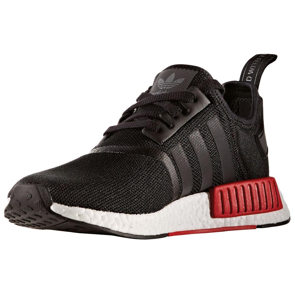 adidas nmd r1 herren running sneaker schwarz rot. Black Bedroom Furniture Sets. Home Design Ideas