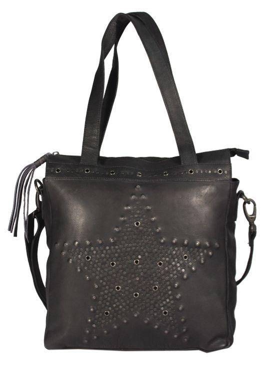 SantCona - Shopper Schultertasche Leder mit Stern Star Motiv aus Nieten Studed Vintage URBAN BAG Damen Handtaschen 31x34x10 cm (B x H x T) – Bild 13