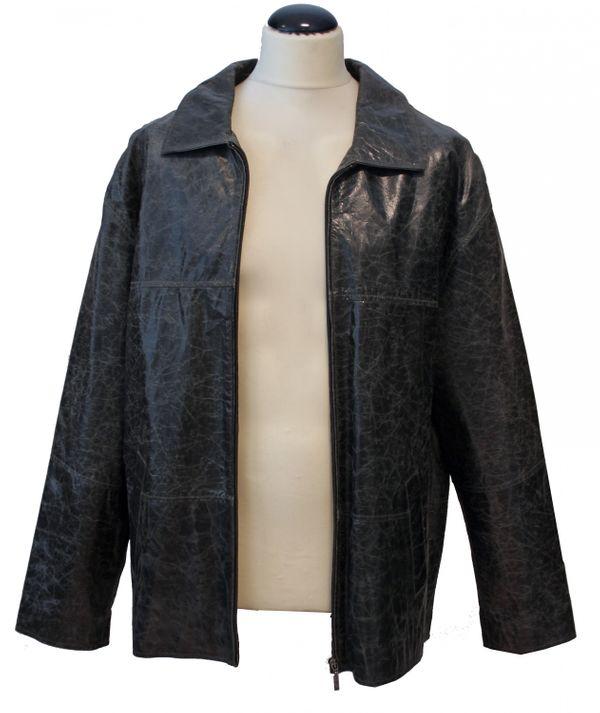 Coppelius - Lederjacke Herrenjacke Blouson gewachstes crushed Leder mit Reißverschluss Rindleder Jacke Comfort Fit relaxter Passform schwarz beige – Bild 7