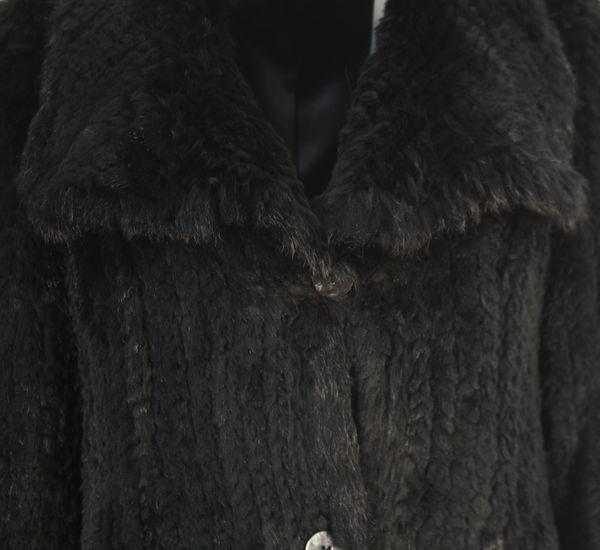 Ofana - edler Pelz Damenmantel Kaninfell Kaninchen schwarz dunkel Pelzjacke GLAMOUR LINE – Bild 4