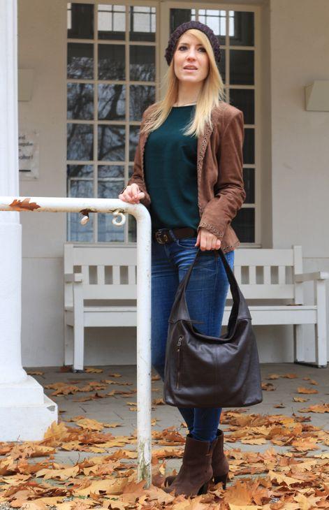Banrallo - Leder Schultertasche Hobobag URBAN BAG Damen Shopper Henkeltaschen Beuteltasche 40x32x13 cm (B x H x T) – Bild 17