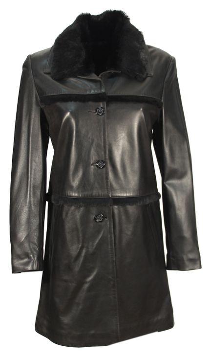 Lenano - Lammnappa Damenmantel mit Toskana Lammfell Kragen schwarz langer Ledermantel Mantel – Bild 1