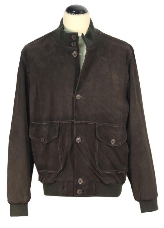 Colombatti - kurze Wildleder Herrenjacke Lederjacke Nubuk-Look Leder Jacke graubraun mit Kontrastnähten – Bild 1