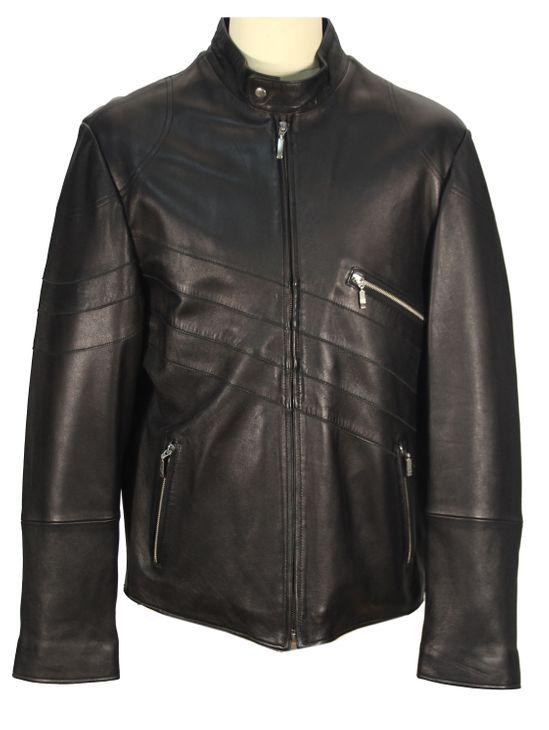 Madrisio - Lammnappa Herrenmantel Bikerjacke schwarze Lederjacke kurze Jacke  – Bild 1