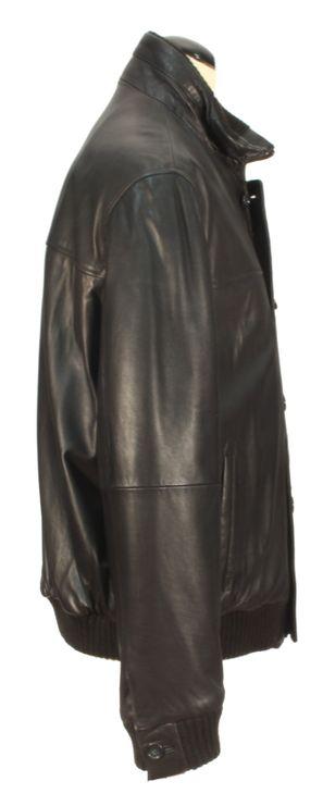 Varelli - schwarze Lammnappa Herrenjacke Lederjacke Biker Aviator kurze Jacke Leder – Bild 2