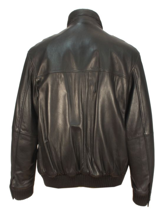 Varelli - schwarze Lammnappa Herrenjacke Lederjacke Biker Aviator kurze Jacke Leder – Bild 3