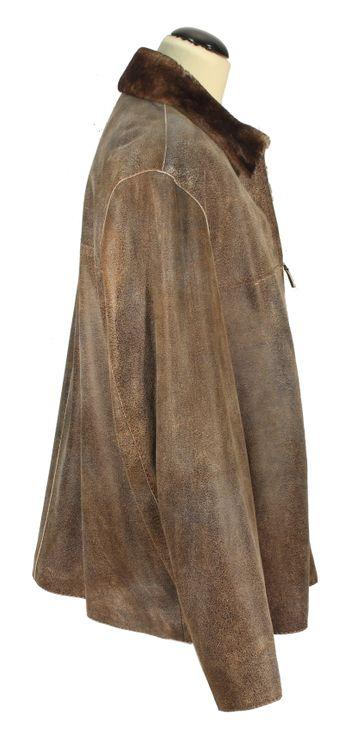 Piscano - stylische Lammnappa Herrenjacke Ledermantel mit Toskana Lammfell Kragen und Futter Jungle-Look Leder mellierter Jacke sand camel – Bild 2