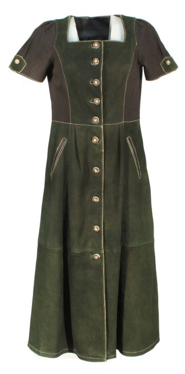 Caeso - langes Trachtenkleid Damenkleid Kleid Lederkleid mit Wildleder und Baumwolle schwarz/grün – Bild 1
