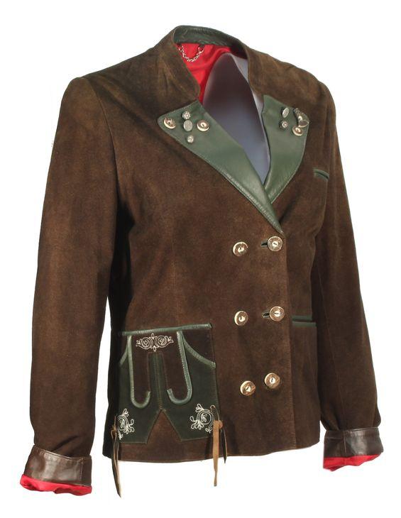 Taxima - Trachtenjacke Damenjacket Damenjacke Lederjacket Lederjacke Country-Look NubukLeder braun grün – Bild 2