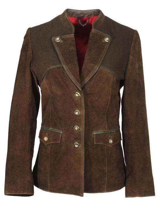 Drappus - Trachtenjacke Damenjacket Damenjacke Lederjacket mit Baumwoll Besatz Lederjacke Country-Look NubukLeder braun – Bild 1