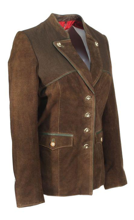 Drappus - Trachtenjacke Damenjacket Damenjacke Lederjacket mit Baumwoll Besatz Lederjacke Country-Look NubukLeder braun – Bild 2