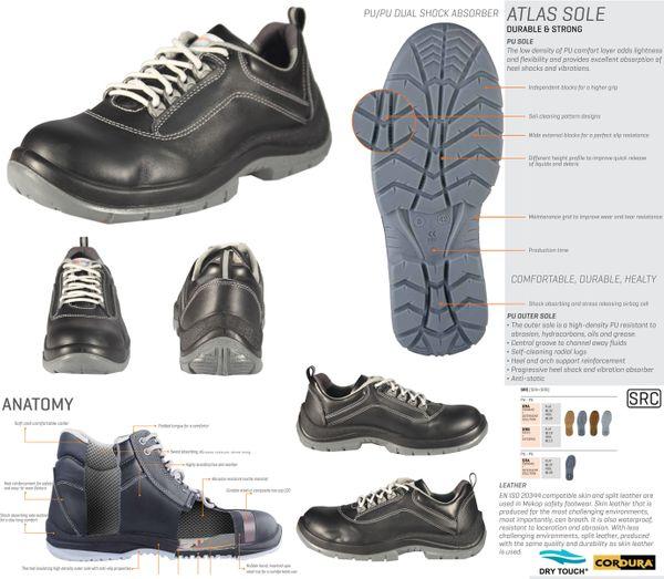 NAKODA ATP-40 S3 - Unisex Erwachsene Arbeits & Sicherheitsschuhe S3 SRC ESD Mekap Safety Shoes Footwear Leder Stahlzwischensohle – Bild 2
