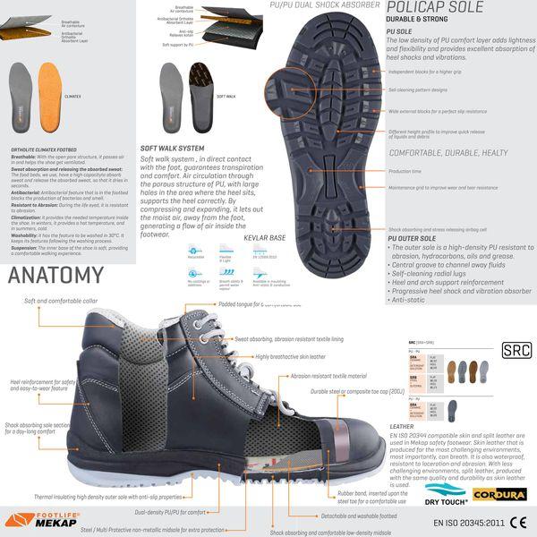POLICAP 204 - Unisex Erwachsene Arbeits & Sicherheitsschuhe Stiefeln Boots S2 SRC ESD Mekap Safety Shoes Footwear Leder Wildleder Suede – Bild 4