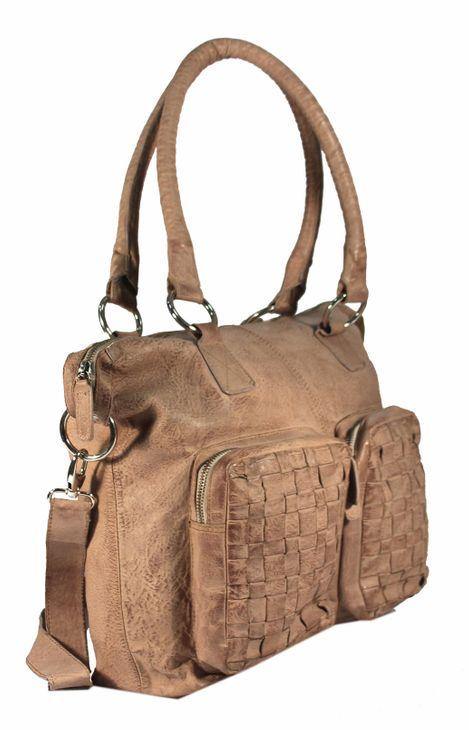 Casallo - Ledertasche Shopper Schultertasche URBAN BAG Used-Look Washed Flechtmuster Damen Handtaschen 42x32x11 cm (B x H x T) – Bild 10