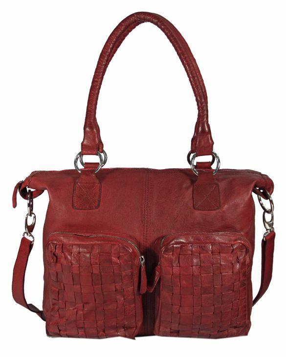 Casallo - Ledertasche Shopper Schultertasche URBAN BAG Used-Look Washed Flechtmuster Damen Handtaschen 42x32x11 cm (B x H x T) – Bild 5