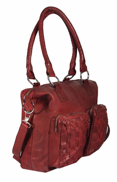 Casallo - Ledertasche Shopper Schultertasche URBAN BAG Used-Look Washed Flechtmuster Damen Handtaschen 42x32x11 cm (B x H x T) – Bild 6